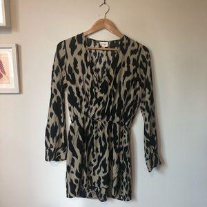 Parker animal print wrap dress